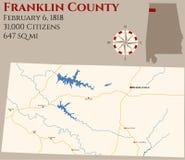 Mapa Franklin okręg administracyjny w Alabama royalty ilustracja