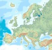 Mapa físico de Europa Imagens de Stock Royalty Free