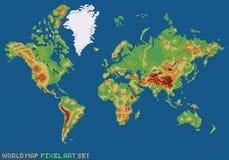 Mapa físico del mundo del ejemplo del estilo del arte del pixel Fotografía de archivo libre de regalías