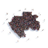 Mapa Gabón de la forma del grupo de la gente Imagen de archivo libre de regalías