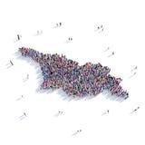 Mapa Geórgia da forma do grupo dos povos Fotografia de Stock