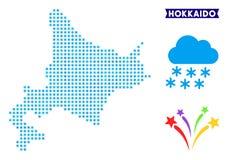 Mapa gelado da ilha do Hokkaido ilustração stock