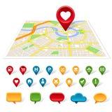 Mapa genérico da cidade, lugar e ícones de uma comunicação Fotografia de Stock Royalty Free