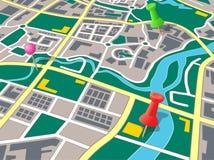 Mapa genérico da cidade com pinos do impulso Imagens de Stock Royalty Free