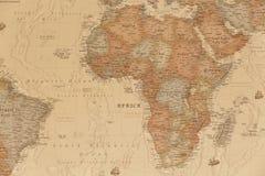 Mapa geográfico antiguo de África fotografía de archivo libre de regalías