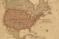 Mapa geográfico antiguo de Norteamérica Fotografía de archivo