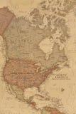 Mapa geográfico antiguo de Norteamérica fotos de archivo