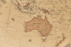 Mapa geográfico antiguo de Oceanía imágenes de archivo libres de regalías