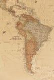 Mapa geográfico antiguo de Suramérica imagen de archivo