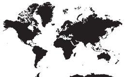 Mapa geográfico blanco y negro Continentes: Asia, Europa, Nort Imagen de archivo libre de regalías