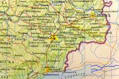 Mapa geográfico da cidade Donets& x27 de Ucrânia do país europeu; área do ka Imagem de Stock