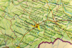 Mapa geográfico da cidade Donets& x27 de Ucrânia do país europeu; k Imagens de Stock