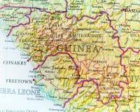 Mapa geográfico da Guiné com cidades importantes Fotos de Stock Royalty Free