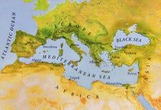 Mapa geográfico da opinião do fim de Europa Fotos de Stock