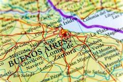 Mapa geográfico de la Argentina con la ciudad de Buenos Aires de la capital imágenes de archivo libres de regalías
