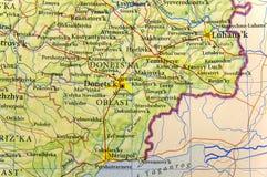 Mapa geográfico de la ciudad Donets& x27 de Ucrania del país europeo; área de ka Imagen de archivo