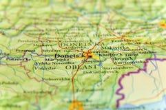 Mapa geográfico de la ciudad Donets& x27 de Ucrania del país europeo; k Imagen de archivo