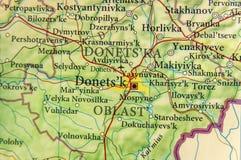 Mapa geográfico de la ciudad Donets& x27 de Ucrania del país europeo; k Fotografía de archivo