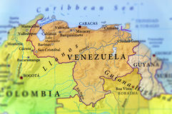Mapa geográfico de los países de Venezuela con las ciudades importantes Fotos de archivo libres de regalías