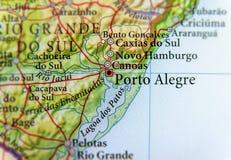 Mapa geográfico del Brasil con la ciudad de Porto Alegre Imagenes de archivo