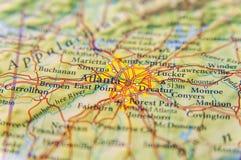 Mapa geográfico del cierre de Atlanta foto de archivo