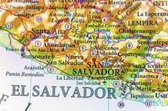Mapa geográfico del cierre de El Salvador del país foto de archivo