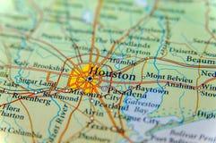 Mapa geográfico del cierre de Houston imagenes de archivo