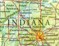 Mapa geográfico del cierre de Indiana fotos de archivo libres de regalías