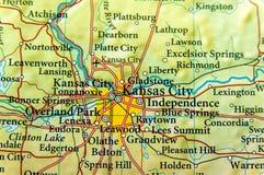 Mapa geográfico del cierre de Kansas City fotografía de archivo libre de regalías
