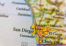 Mapa geográfico del cierre de la ciudad de San Diego foto de archivo
