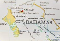 Mapa geográfico del cierre de la isla de Bahamas imagenes de archivo