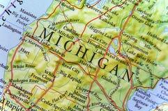 Mapa geográfico del cierre de Michigan imagen de archivo