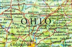 Mapa geográfico del cierre de Ohio fotografía de archivo libre de regalías