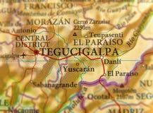 Mapa geográfico del cierre de Tegucigalpa de la ciudad de Honduras Fotografía de archivo libre de regalías