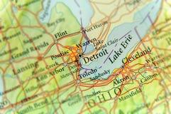 Mapa geográfico del estado de los E.E.U.U. Michigan y de la ciudad de Detroit fotografía de archivo libre de regalías