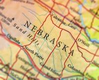 Mapa geográfico del estado de los E.E.U.U. Nebraska con las ciudades importantes fotos de archivo