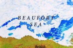 Mapa geográfico del mar de Beaufort en país de los E.E.U.U. Alaska fotos de archivo