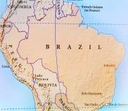 Mapa geográfico del país del Brasil con las ciudades importantes Imagenes de archivo