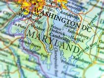 Mapa geográfico do estado de E.U. Maryland e da cidade do Washington DC Foto de Stock Royalty Free