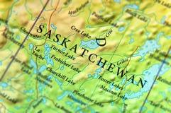 Mapa geográfico do estado Saskatchewan de Canadá com cidades importantes foto de stock royalty free