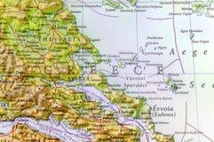 Mapa geográfico do país europeu Grécia com cidades importantes fotografia de stock royalty free