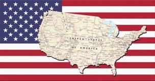 Mapa geográfico na bandeira dos EUA Imagem de Stock