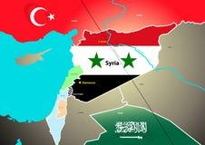 Mapa geopolítico de Siria con el oleoducto propuesto Imagen de archivo libre de regalías