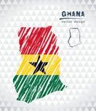 Mapa Ghana z ręka rysującą nakreślenia pióra mapą inside również zwrócić corel ilustracji wektora royalty ilustracja