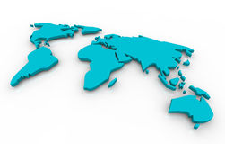 Mapa global - azul no fundo branco Fotos de Stock Royalty Free