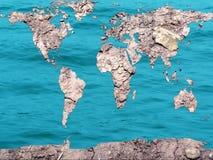Mapa global seco e inundado Fotos de Stock