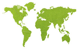 Mapa global verde isolado Fotos de Stock