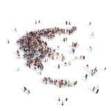 Mapa Grecia de la forma del grupo de la gente Ilustración del Vector