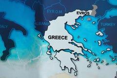 Mapa Grecja w błękicie tonuje z wsią obraz royalty free