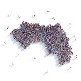 Mapa Guinea de la forma del grupo de la gente Imágenes de archivo libres de regalías